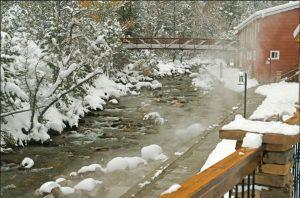 Chalk Creek Hot Springs at the base of Mt Princeton